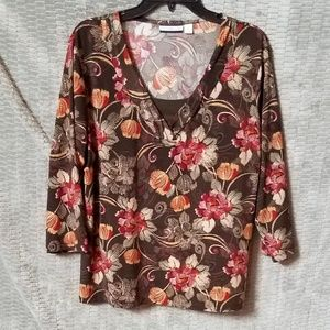 Croft&Barrow brown with orange flowers Blouse